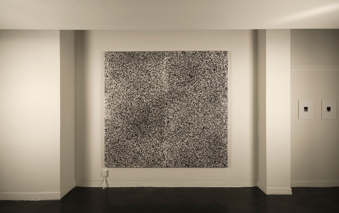 6.9 Billion, Archival ink fingerprints on gessoed panel, UV resin; 7ft x 8ft, installation view.Disquietude, 2010; Gallery of Visual Arts, University of Montana