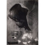 Impact, photopolymer etching, 7x5in, Disquietude, 2010; Gallery of Visual Arts, University of Montana