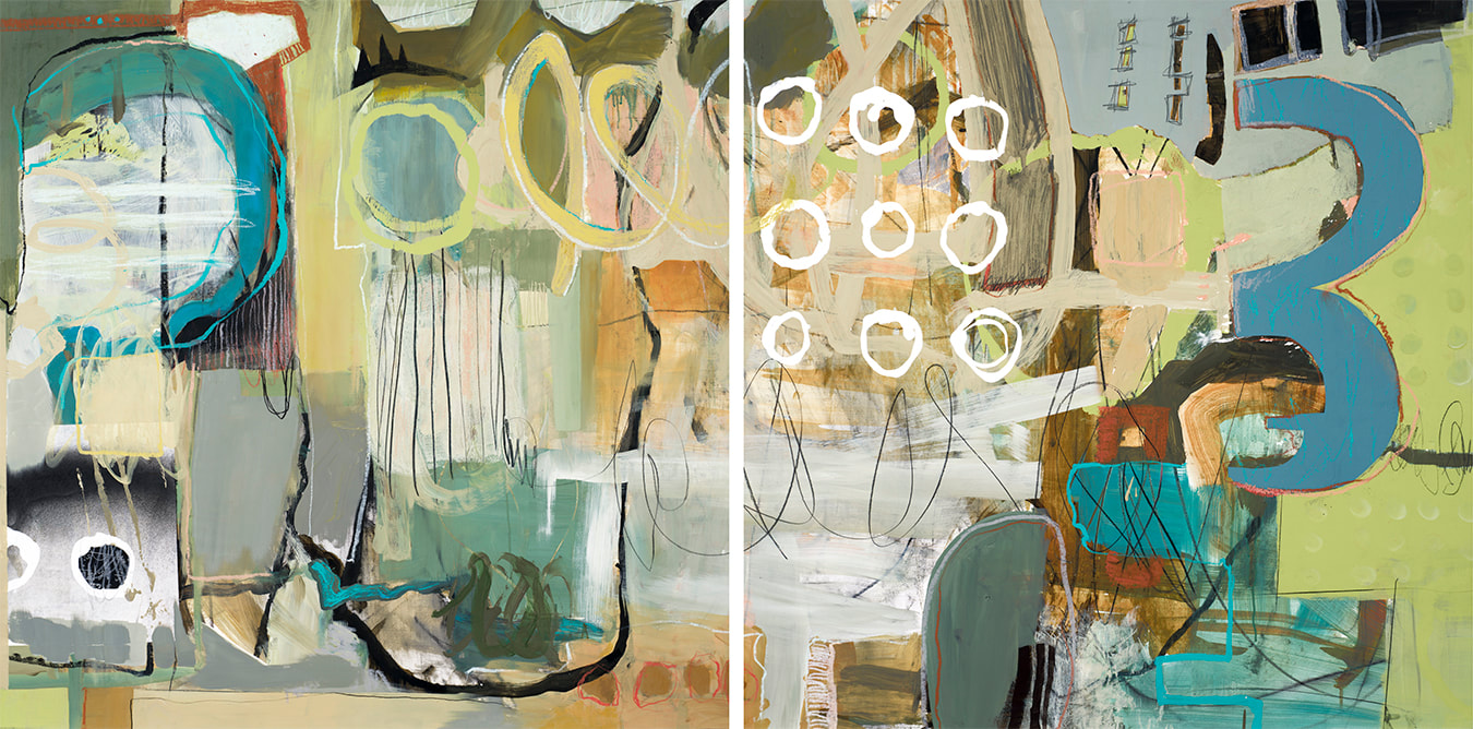 Summer, Acrylic/Mixed Media, Diptych, 42in x 84in (available)
