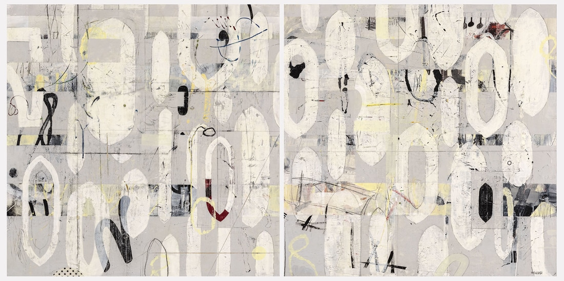 Perpetual Motion, acrylic, mixed media on wood panel, diptych (two 36x36in panels), 3'x6', SOLD